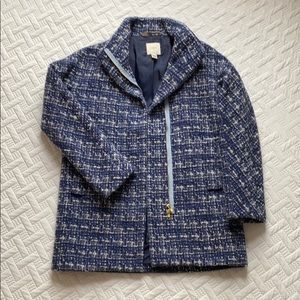 Blue & White Twead J Crew Winter Coat